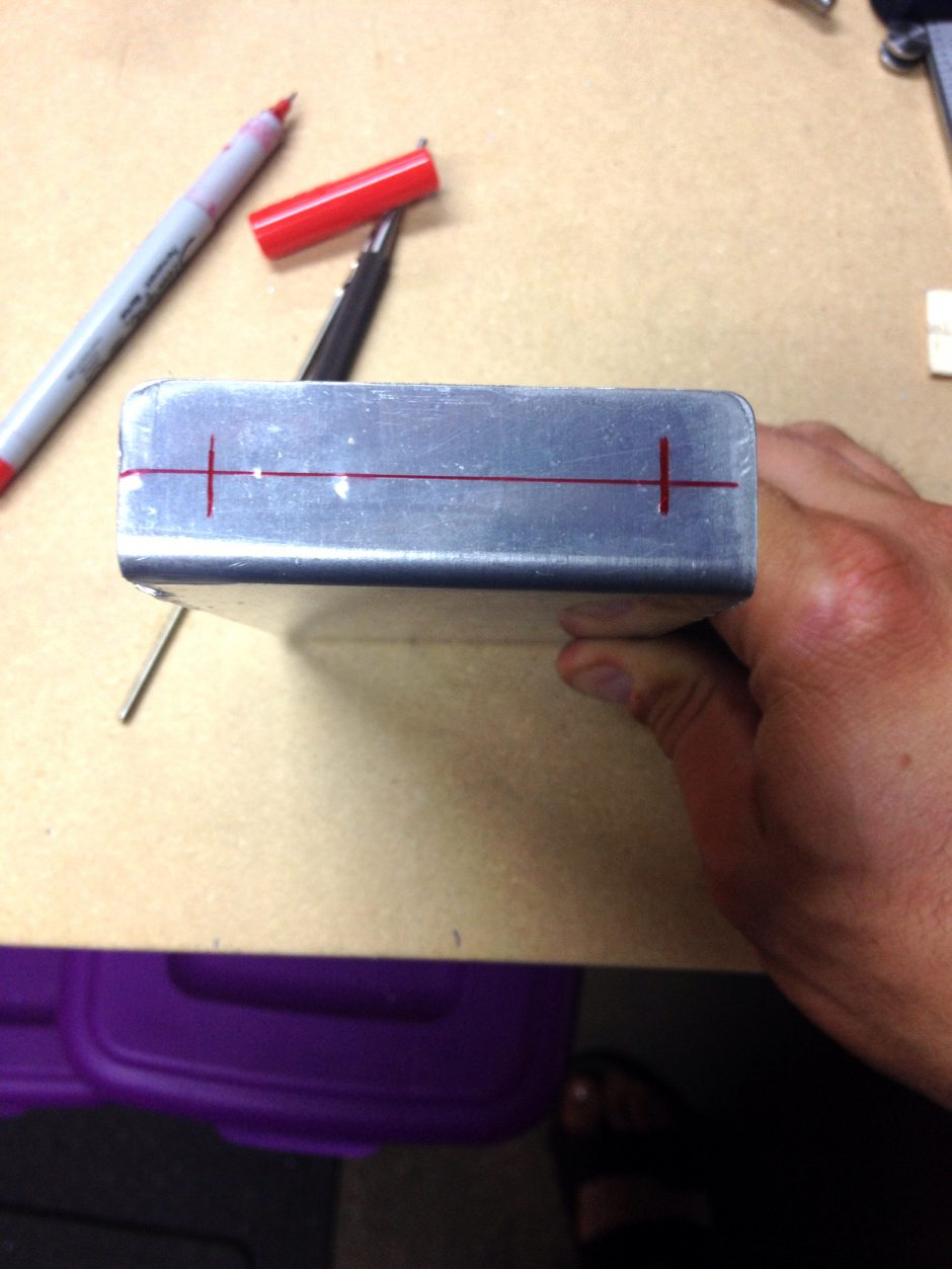 Marked the edge distance for proper rivet spacing on the 4200-19 rib.